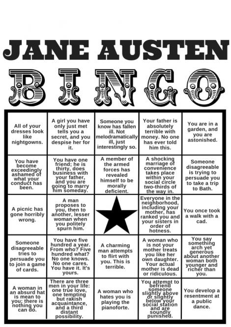 Jane Austen bingo